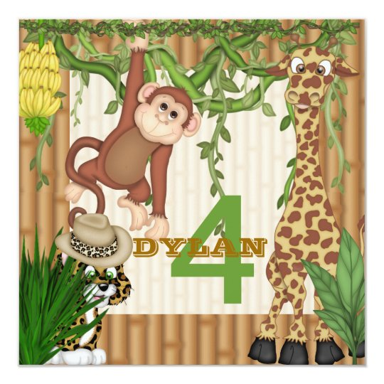 CHILDRENS Jungle Safari Birthday Invitation Templ