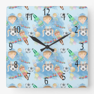 Children's, Little Boy Square Wall Clock
