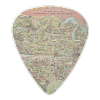 Children's Map of the United States Acetal Guitar Pick