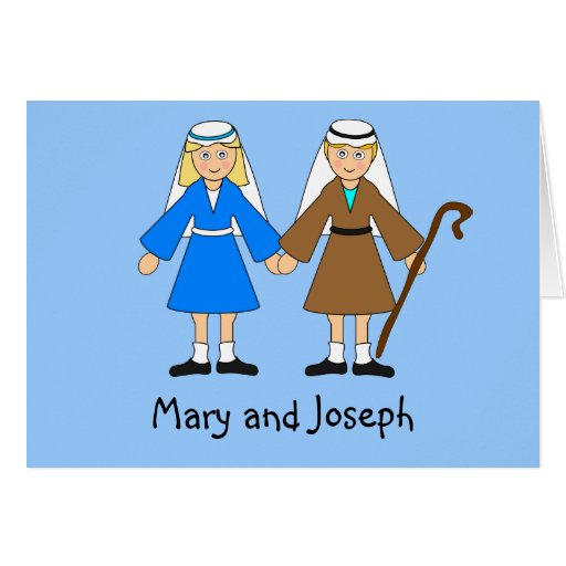 Children's Nativity - Mary and Joseph (blonde) Greeting Cards