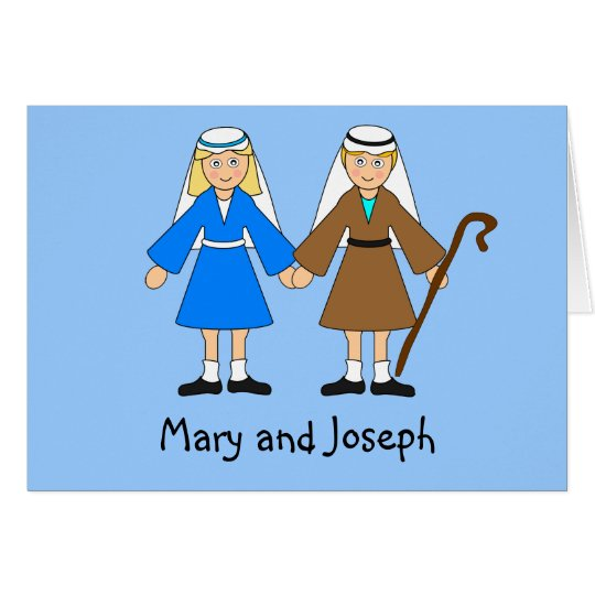 Children's Nativity - Mary and Joseph (blonde) Card
