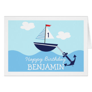 Childrens Nautical Sail Boat Birthday Card