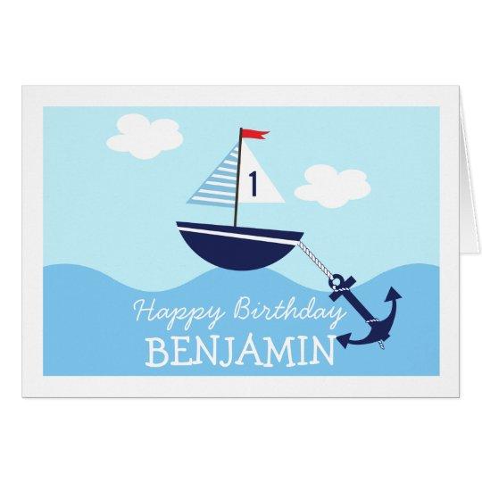 Childrens Nautical Sail Boat Birthday Card