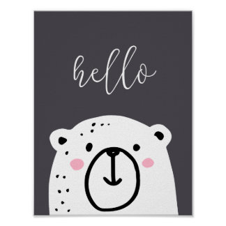 Childrens Nursery Bear Hello Script Poster