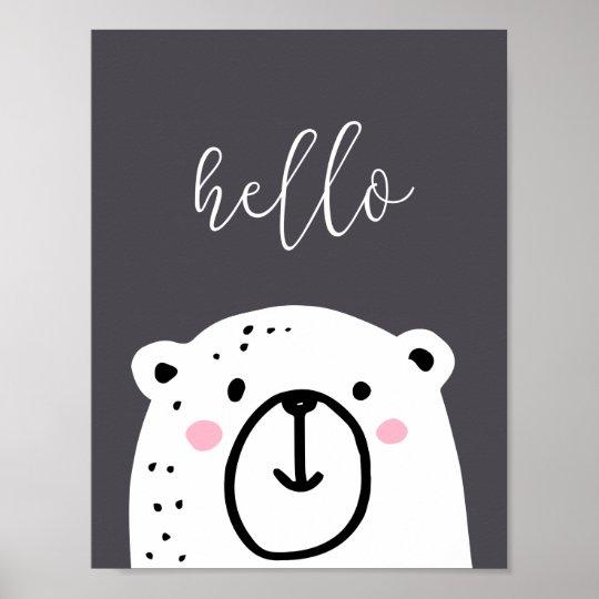 Childrens Nursery Bear Hello Script Poster