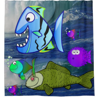 children's ocean fish shower curtain
