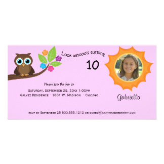 Children's Party Owl Photo Invite Pink Background Customized Photo Card