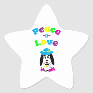 Childrens Peace and Love Kute Dog Star Sticker