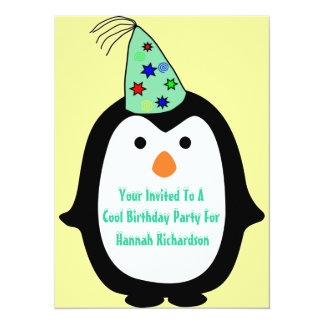 Childrens Penguin In Party Hat Birthday Party Card
