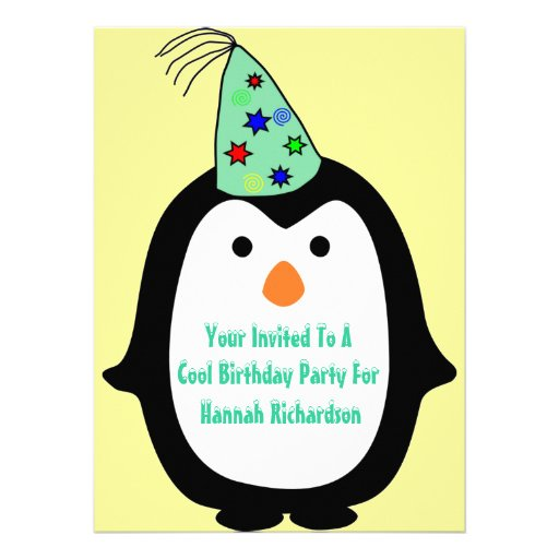 Childrens Penguin In Party Hat Birthday Party Custom Invites