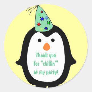 Childrens Penguin Wearing Party Hat Birthday Favor Round Sticker