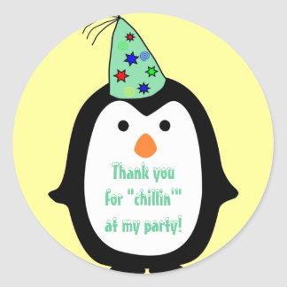 Childrens Penguin Wearing Party Hat Birthday Favor Round Stickers