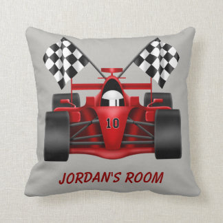 Children's Pillow Racing Car Checkered Flag