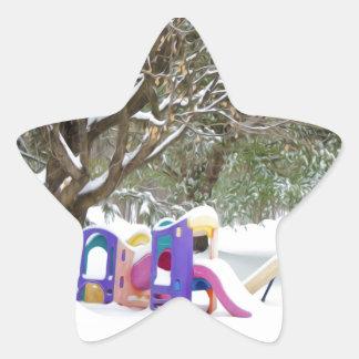 Children's playground in the snow star stickers