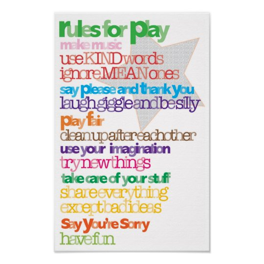 Children's Rules for Play Poster