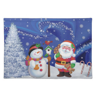 Childrens Santa and Snowman Cloth Placemat