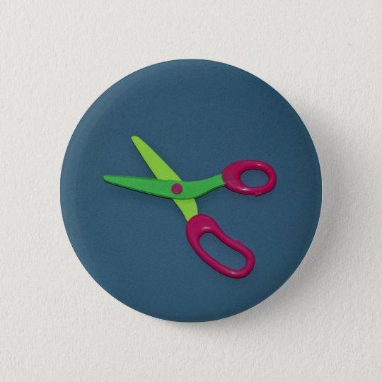 Children's scissors 6 cm round badge