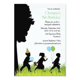 Children's Silhouette Backyard Birthday 13 Cm X 18 Cm Invitation Card