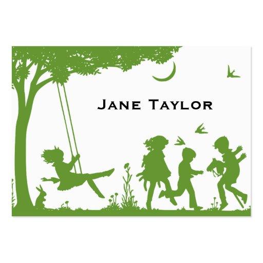 Children's Silouette Business Card Templates