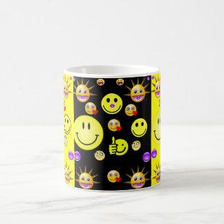 Children's smiley face mug black back
