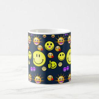 Children's smiley face mug blue back