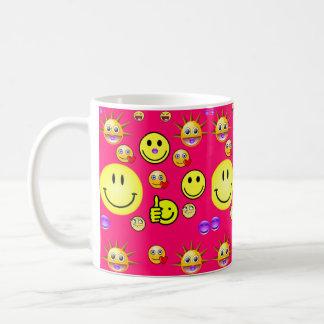 Children's smiley face mug pink back
