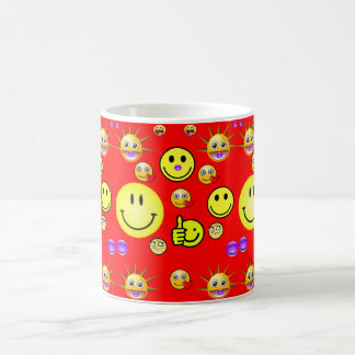 Children's smiley face mug red back