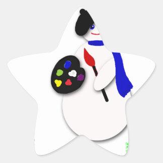 Childrens Snowman Artist w Snowflake Colorwheel Stickers