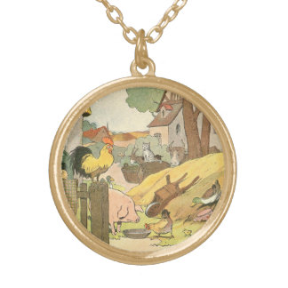 Children's Story Book Farm Animals Round Pendant Necklace