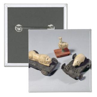 Children's toys: a hedgehog, a lion and a dove, Su 15 Cm Square Badge