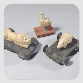 Children's toys: a hedgehog, a lion and a dove, Su Square Sticker