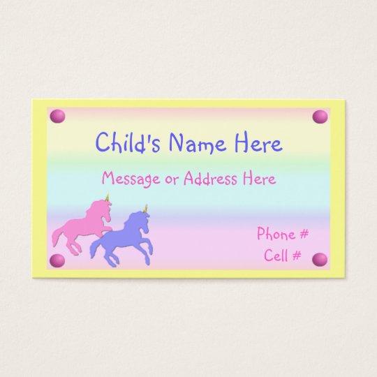 Childrens Unicorn Calling Card