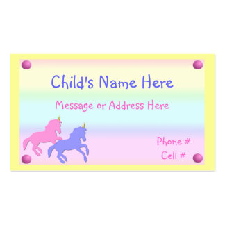 Childrens Unicorn Calling Card Double-Sided Standard Business Cards (Pack Of 100)