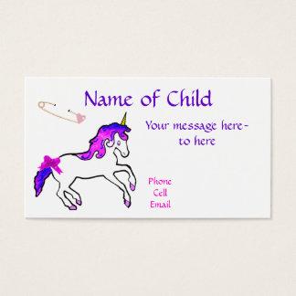 Children's Unicorn Profile Card