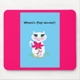Children's White Cute Kitty Cat Mouse Mat