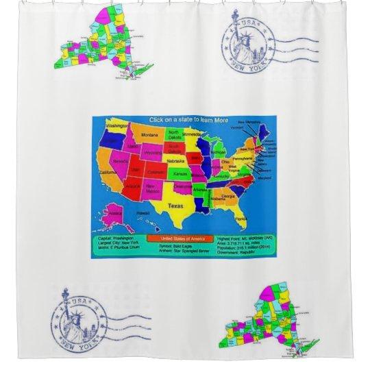 childrens world map white blue showercurtain shower curtain