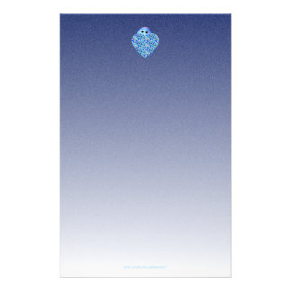 Children's Writing Paper with Blue Heart