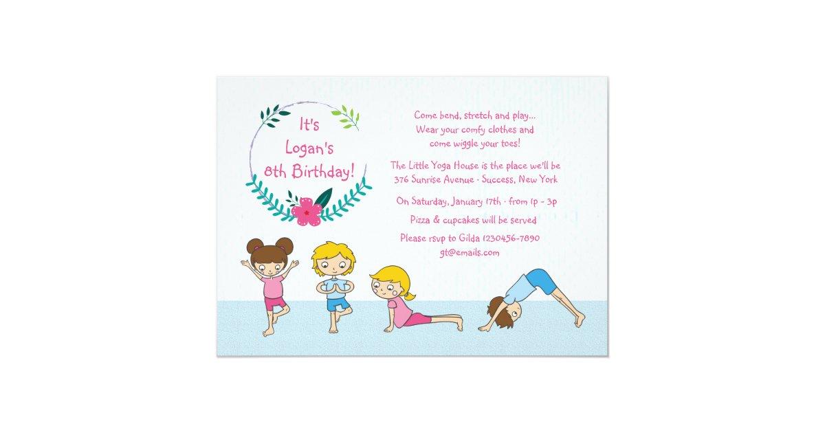 Children S Yoga Party Invitation Zazzle Co Uk