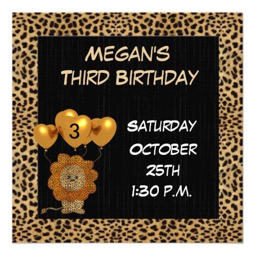 Childs 3rd Birthday Party Invitation Cheetah