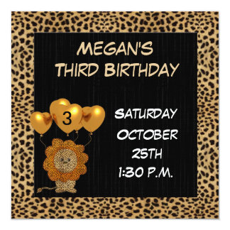 Childs 3rd Birthday Party Invitation Cheetah