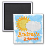Childs Artwork (personalise) Square Magnet