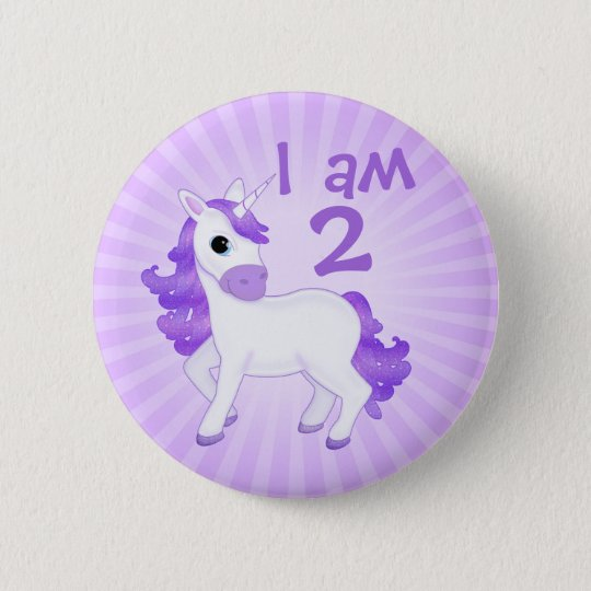 Childs Birthday Age Cute Purple Cartoon Unicorn 6