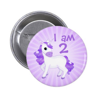 Childs Birthday Age Cute Purple Cartoon Unicorn 6 Cm Round Badge