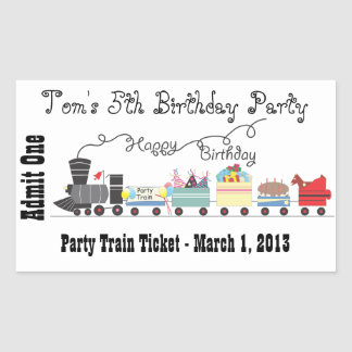 Child's Birthday Party Train Ticket stickers