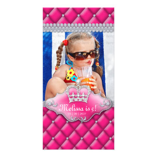 Child's Birthday Photocard Tufted Satin Crown Pink Photo Greeting Card