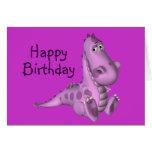 Childs Birthday Purple Dinosaur Greeting Card