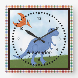 Child's Blue Dinosaur Wall Clock