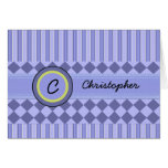 Child's Blue Stripes Monogram Note Card