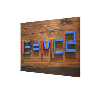 Child's building blocks arranged to show E=mc2 Canvas Print