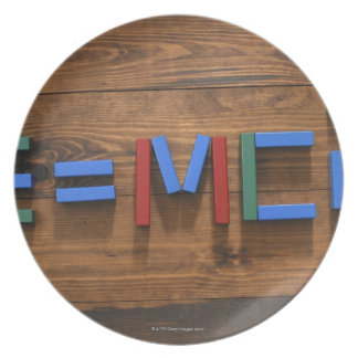 Child's building blocks arranged to show E=mc2 Plate